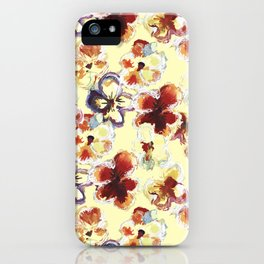 Hand drawn field of pansies flowers iPhone Case