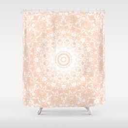 Pale Pumpkin and White Mandala Shower Curtain