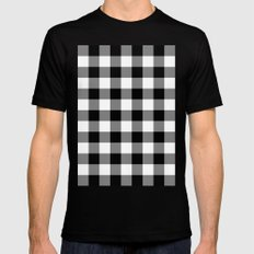 Gingham (Black/White) Black Mens Fitted Tee SMALL