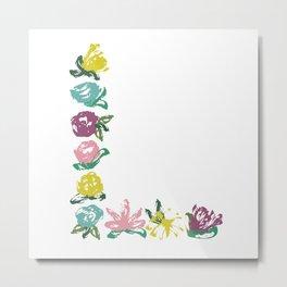 Floral L Monogram Metal Print
