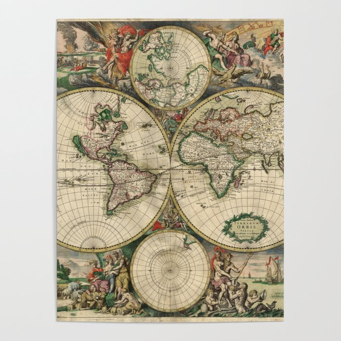 1689 Map of the World by Gerard van Schagen Poster
