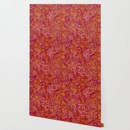 Marigold Lino Cut, Batik Red And Purple Wallpaper