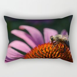 Honey bee on purple cone flower Rectangular Pillow
