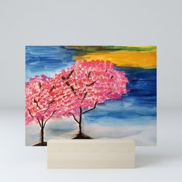Trees and Sunset Scenery Watercolor painting Mini Art Print