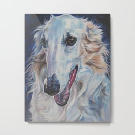 Borzoi dog portrait art from an original painting by L.A.Shepard Metal Print
