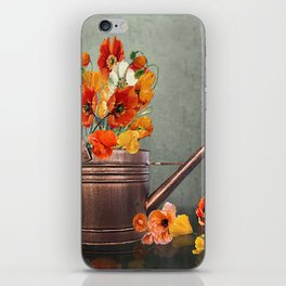 Copper Watering Can and Poppies iPhone Skin