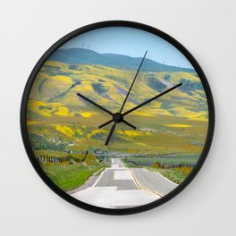 Leading lines of Highway 58 going through Carrizo Plain National Monument Wall Clock