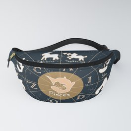 Pisces, Zodiac, Astrology, Horoscope, Stars, Sun-and-moon. Birthday, Valentines-day, Holidays, Fanny Pack