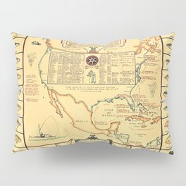 Illustrated Map of Well Known Salt Water Game Fish of North America Pillow Sham