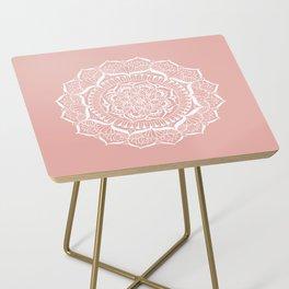 White Flower Mandala on Rose Gold Side Table