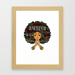 Juneteenth Black Women Natural Hair Afro Word Art Gift T-Shirt Framed Art Print