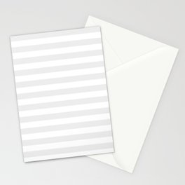 Narrow Horizontal Stripes - White and Pale Gray Stationery Cards