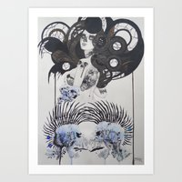 goth Art Prints featuring Goth spirit  by Aggelikh Xiarxh