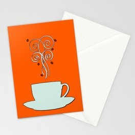 Aaah...coffee...  Retro / Vintage Coffee Print on Burnished Orange Background Stationery Cards