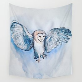Watercolor owl Wall Tapestry