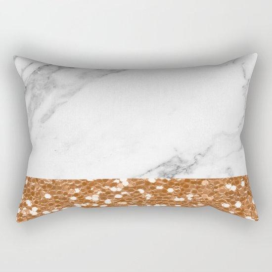 Marble and brass glitter Rectangular Pillow