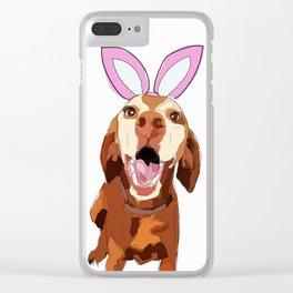 Happy Easter Vizsla Bunny Clear iPhone Case
