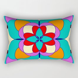 Faux Stained Glass // Stained Glass // Mandala Design // Vibrant Rectangular Pillow