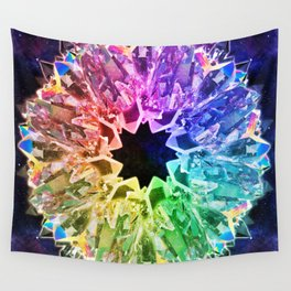 Crystal Wheel Meditation Circle Wall Tapestry