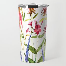 Botanical Colorful Flower Wildflower Watercolor Illustration Travel Mug