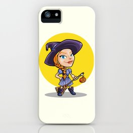 Cute witch with broom halloween cartoon iPhone Case