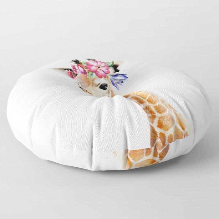 Baby Giraffe with Flower Crown Floor Pillow