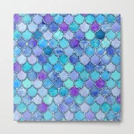 Colorful Blues Mermaid Scales Metal Print