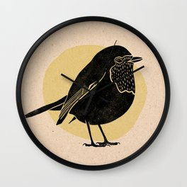 Little Robin. Bird in black with yellow background - Linocut Block Print on Kraft Paper Wall Clock