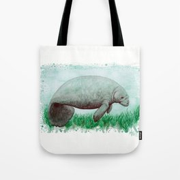 """The Manatee"" by Amber Marine ~ Watercolor Painting, (Copyright 2015) Tote Bag"
