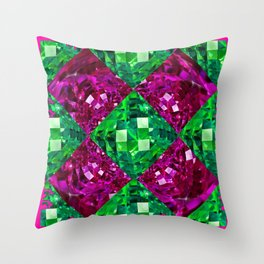 Contemporary  Emerald  Green-Purple Diamond Patterns Art Throw Pillow