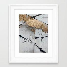 Still: an abstract mixed media piece in black, white, and gold by Alyssa Hamilton Art Framed Art Print