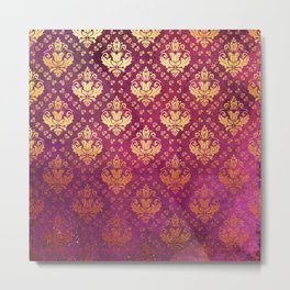 Antique Rose and Gold Pattern Print Metal Print