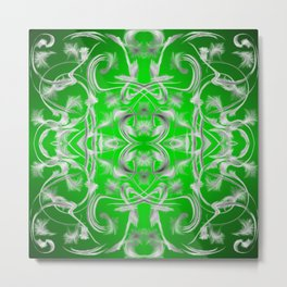 silver and green Digital pattern with circles and fractals artfully colored design for house Metal Print