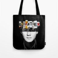 godfather Tote Bags featuring Godfather Mix 2 black by Marko Köppe