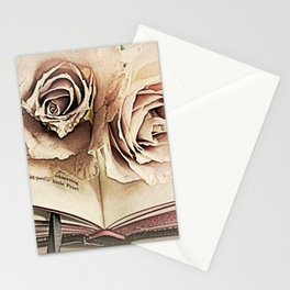 Roses on Book Library Art A113 Stationery Cards