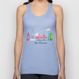 what a colorful city San Francisco, CA.  Unisex Tank Top