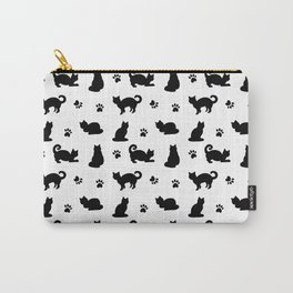 Black Cats and Paw Prints Pattern Carry-All Pouch