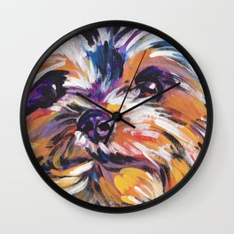 Fun Yorkie Dog Portrait bright colorful Pop Art Painting by LEA Wall Clock