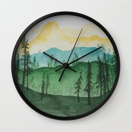 Mountains and Trees Wall Clock