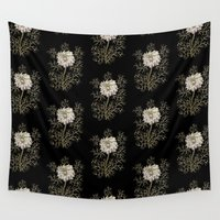 medieval Wall Tapestries featuring Mysterious Medieval Flower Pattern by Antique Images