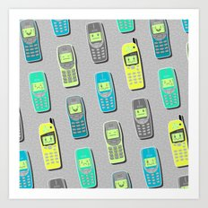 Vintage Cellphone Pattern Art Print