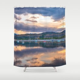 Calm Waters // Lake and Boats at Sunset Beautiful Landscape Photograph Scenic Mountain View Shower Curtain
