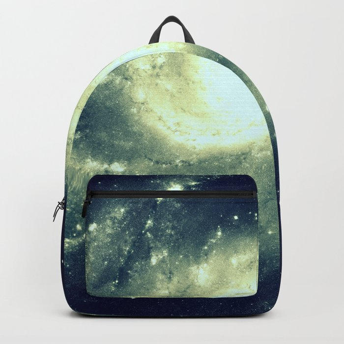Ivory Teal Pinwheel Spiral Galaxy Space Backpack