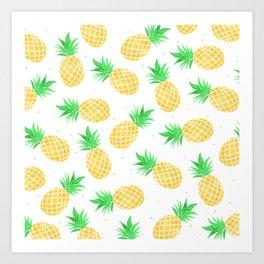 Modern summer watercolor orange green pineapples pattern Art Print