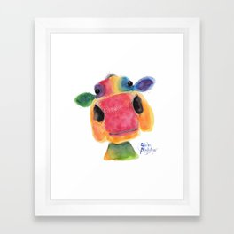 Nosey Cow ' BRIDGET ' by Shirley MacArthr Framed Art Print