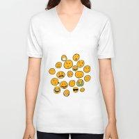 emoji V-neck T-shirts featuring Emoji Family by Jason Travis