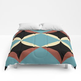 Frontal Fishes with squared blue mouths in a black deep sea. Comforters