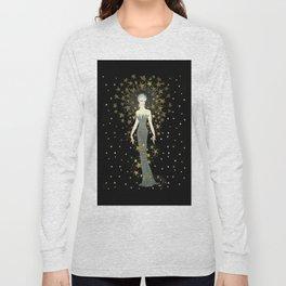 """Art Deco Sepia Illustration """"Star Studded Glamor"""" Long Sleeve T-shirt"""