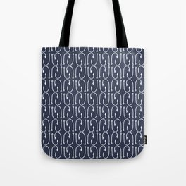 Fish Hooks in Navy Blue Tote Bag