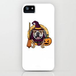 Witch Bulldog Dog Costume For Spooky Halloween iPhone Case